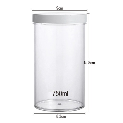 size of 750ml PS jar with PP lid 15.8*9cm