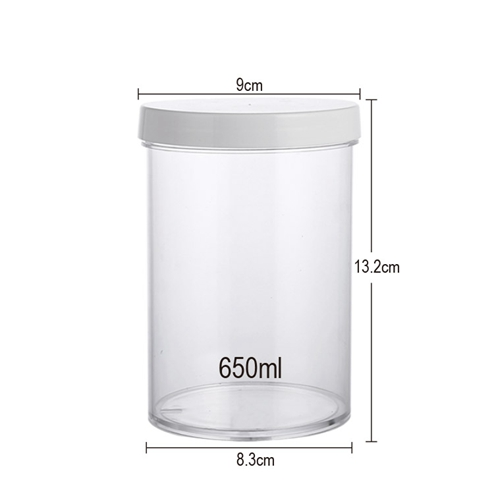 size of 650 food storage PS jar with white lid 9cm*13.2cm