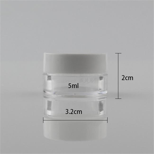 empty 5ml clear jar sample cream jar