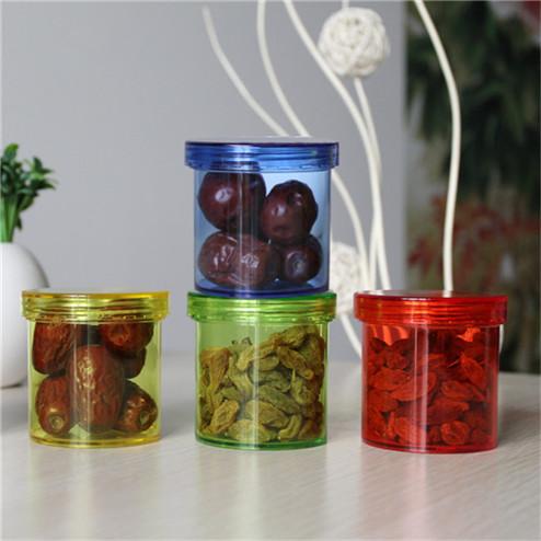 colorful clear plastic jar