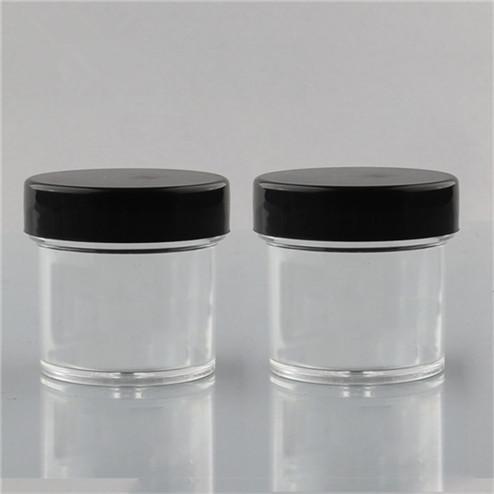 clear jar with black lid
