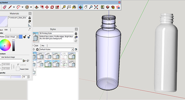 3D drawing of plastic bottle packaging