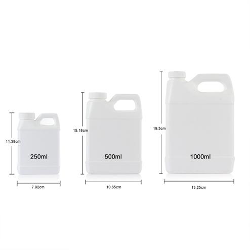 size of 250ml (8.33oz) white HDPE F-style plastic jugs YFA-266