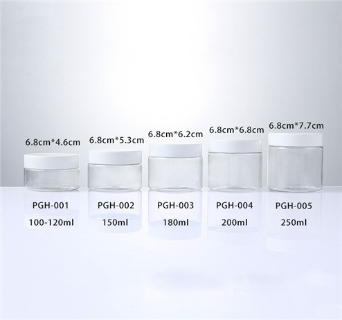 white cap PET Clear Jars sizes