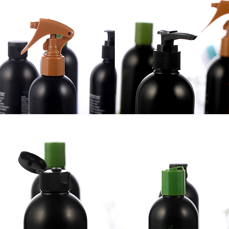 12oz black hdpe boston round bottle with trigger pump spray bottle