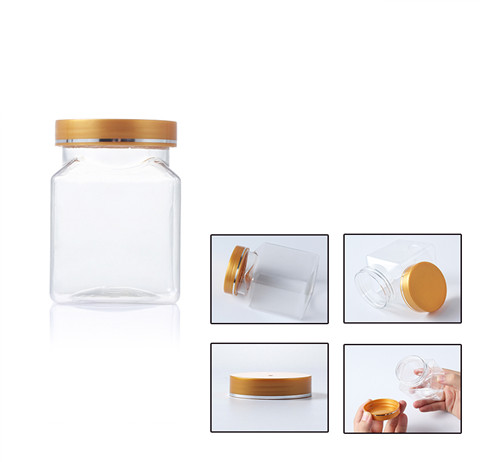 square 250ml clear storage plastic jar with yellow cap
