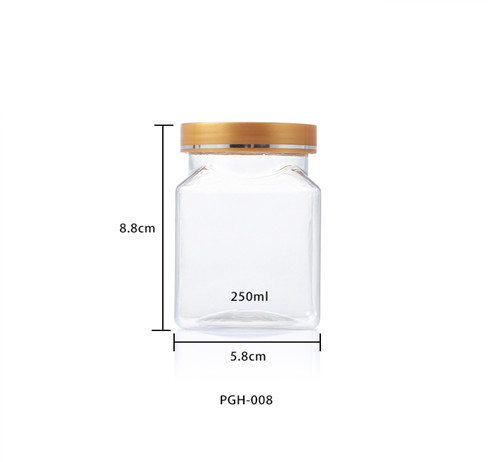 Square clear storage plastic jars size