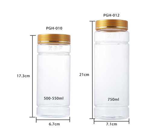 clear pet plastic jars dimension