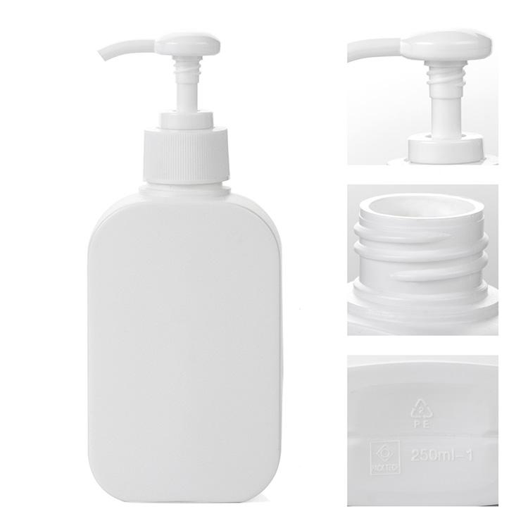 white pe oblonng lotion pump bottle