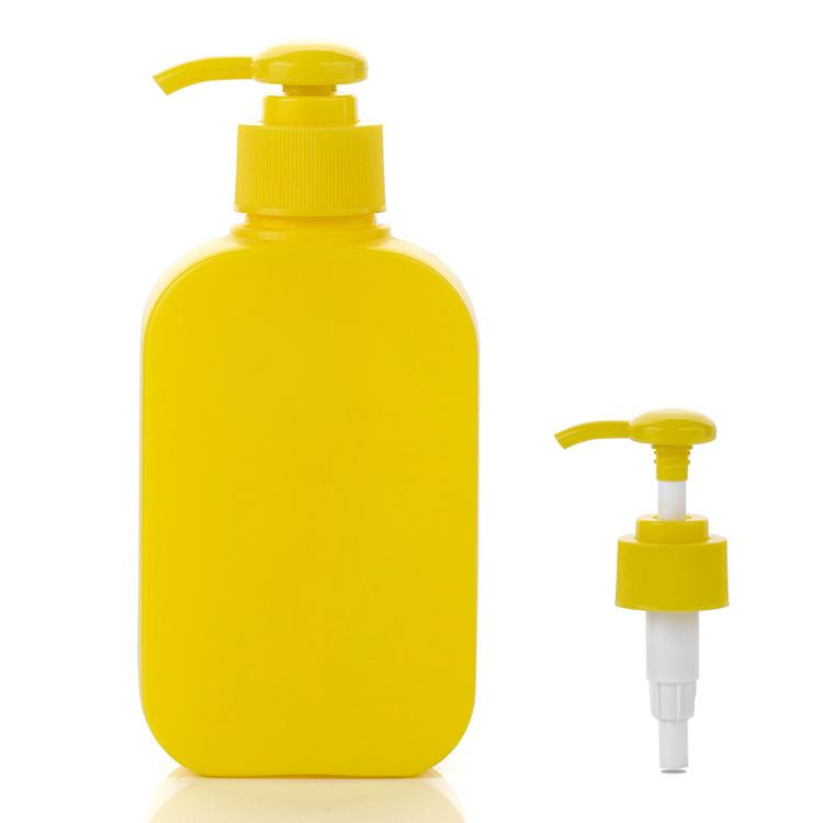 250ml yellow hdpe oblong plastic bottle