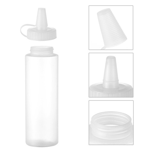 detail of 8oz natural colored LDPE plastic sauce bottle JF-170