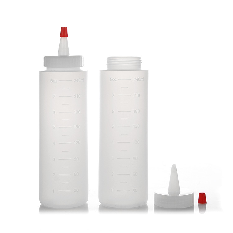 cylinder ldpe scaled sauce squeeze bottle with red tip cap
