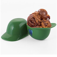 green PP new style baseball cap bowls for ice cream