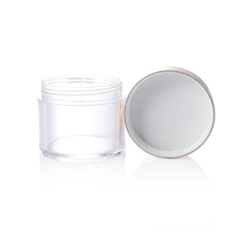 PS clear jar with golden double wall lid
