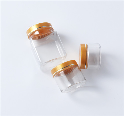 square and round shape clear storage plastic jars