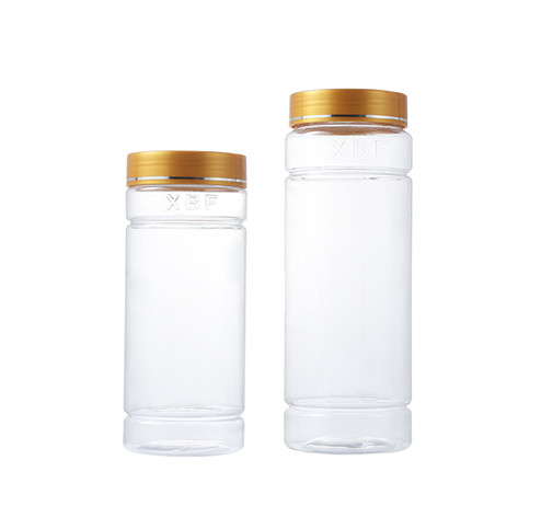 clear storage plastic jar with yellow cap