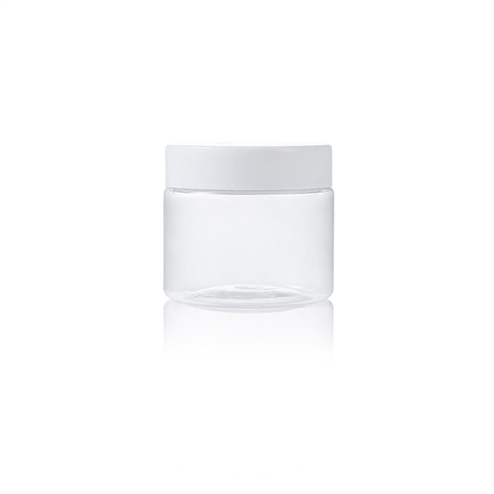 180ml plastic pet clear round jar with white lid wholesale in stock in China