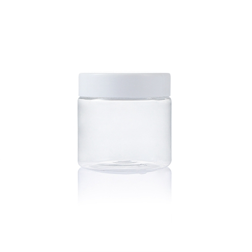 200ml plastic pet clear round jar with white lid in bulk