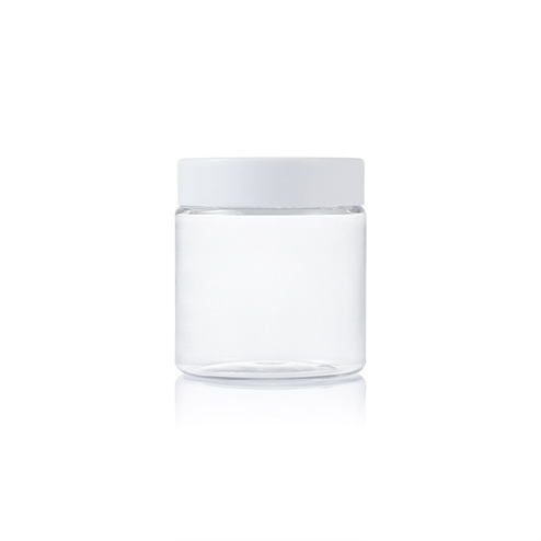 manufacturing 250ml plastic pet clear round jar with white lid