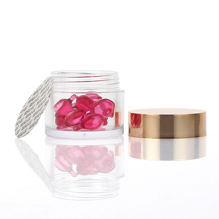 2oz clear jar with rose gold cap