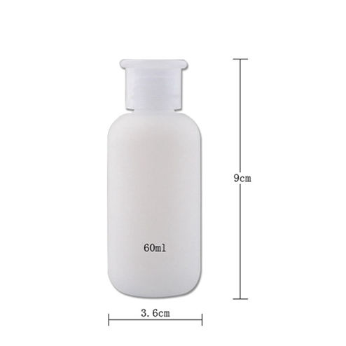 Size of 60ml PE plastic nail remover bottles with 18/410 neck finish JF-005