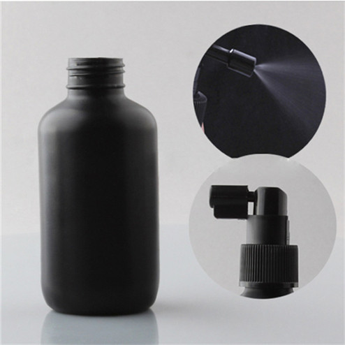 detail of 4oz natural colored LDPE boston round bottle