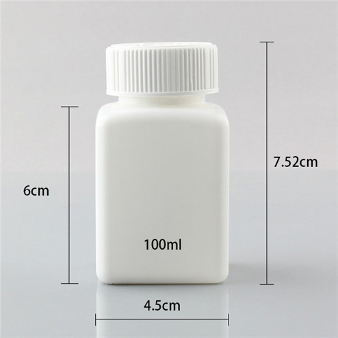 size of 100ml HDPE square plastic bottle for tablet YFA-235