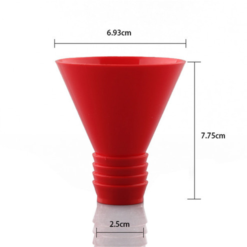 size of manufacturing red PP plastic oil funnel with screw