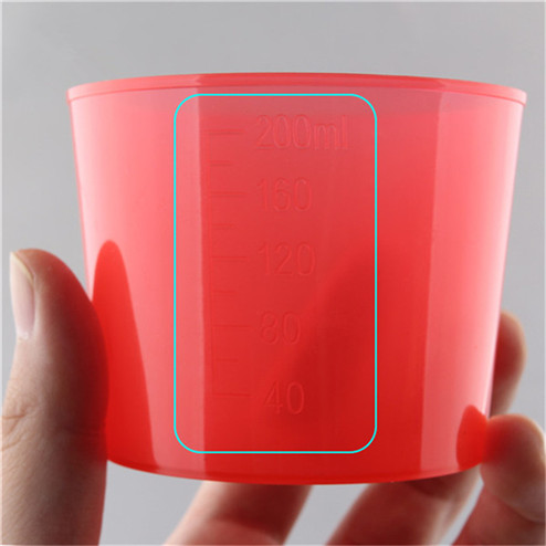 detail of 200ml PP Plastic measuring cup ZFA-787