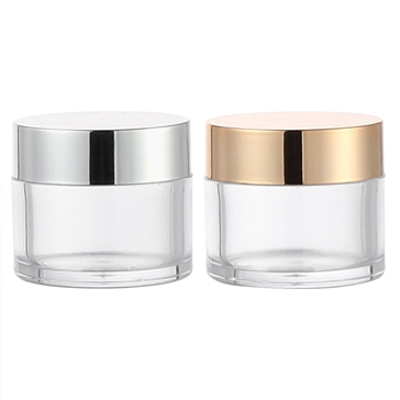 cosmetic jar with silver and gold lid 2oz