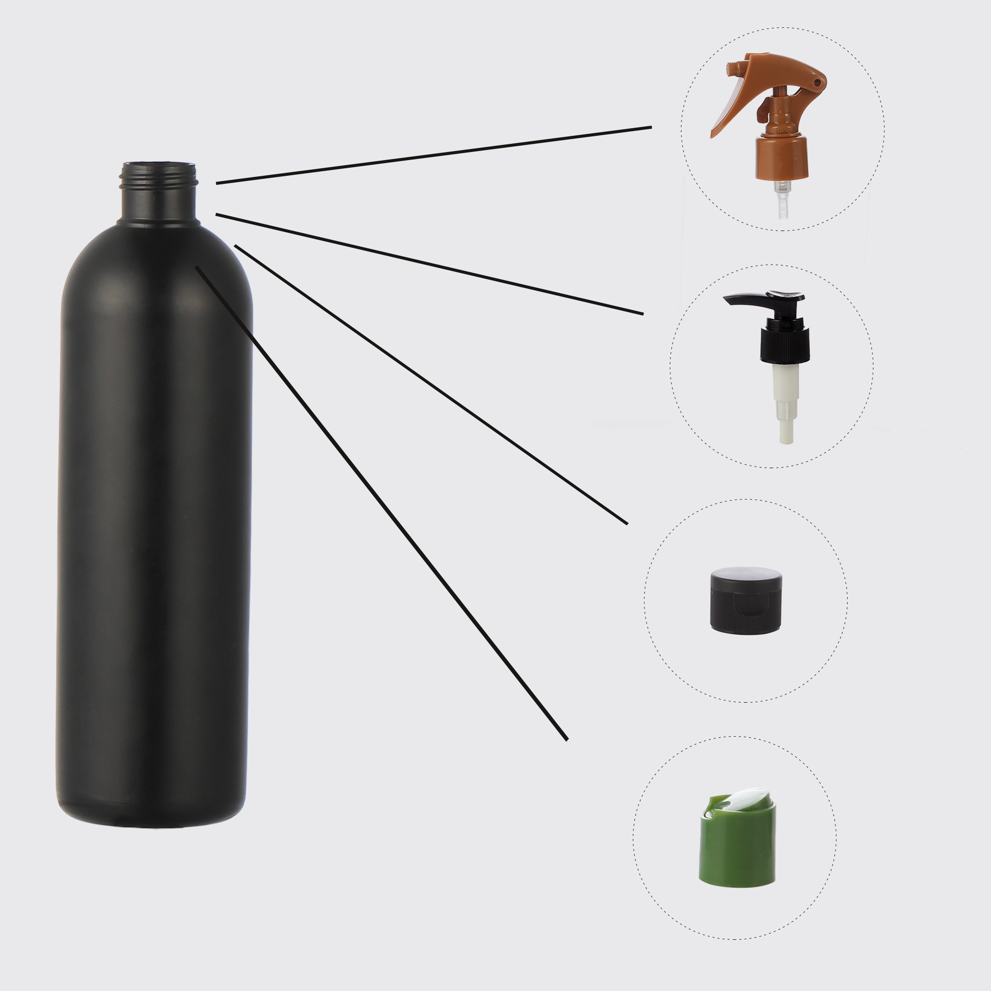 12oz black hdpe boston round bottle with trigger pump spray cap