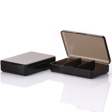 black plastic boxes with three components