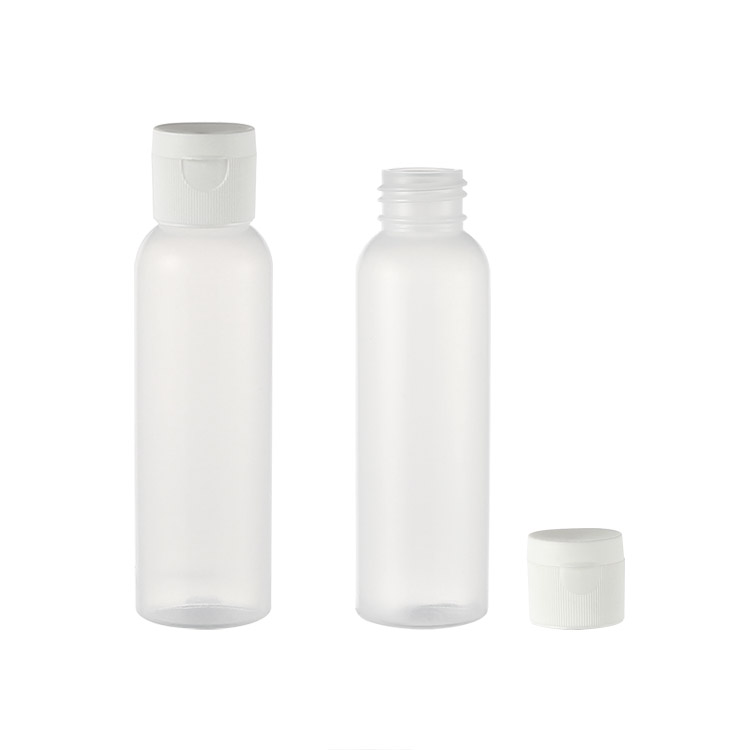 white cosmo shape plastic bottle with flip cap