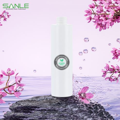 Compostable 100% pla cosmetic bottle makeup remover container