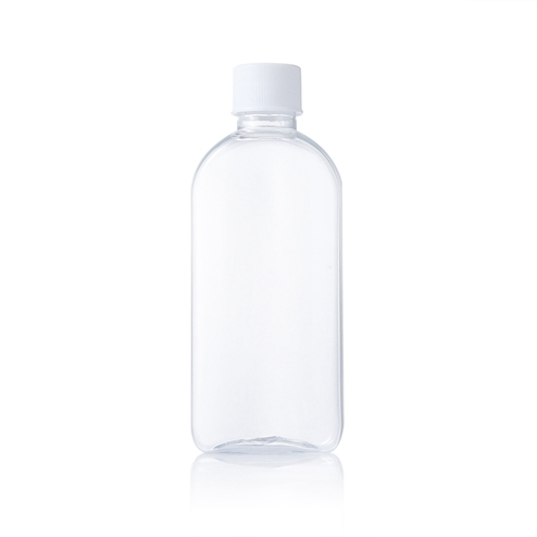 100 ml clear flat pet bottle with white screw cap