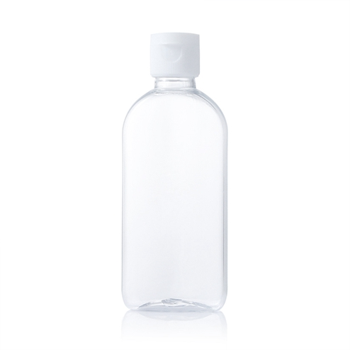 100ml clear flat pet bottle with white snap cap