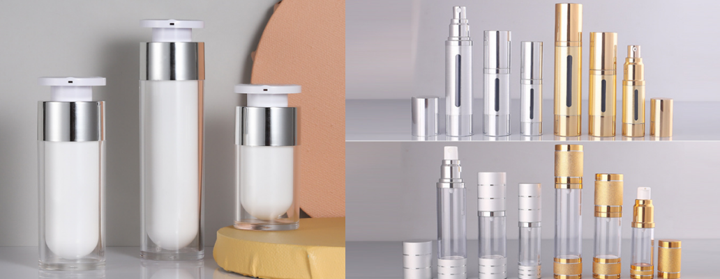 Airless pump bottles for skincare packaging